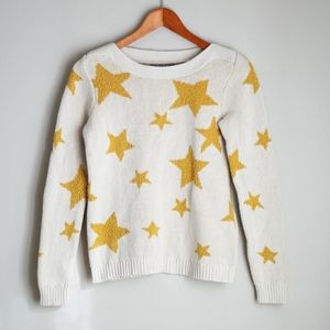 Marled by Reunited White and Yellow Star Sweater